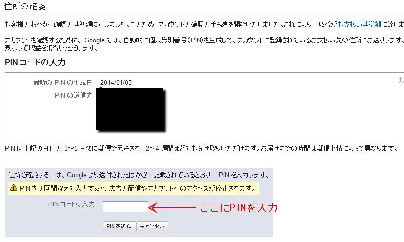 Google AdSense PIN入力