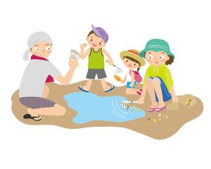 家族で潮干狩り